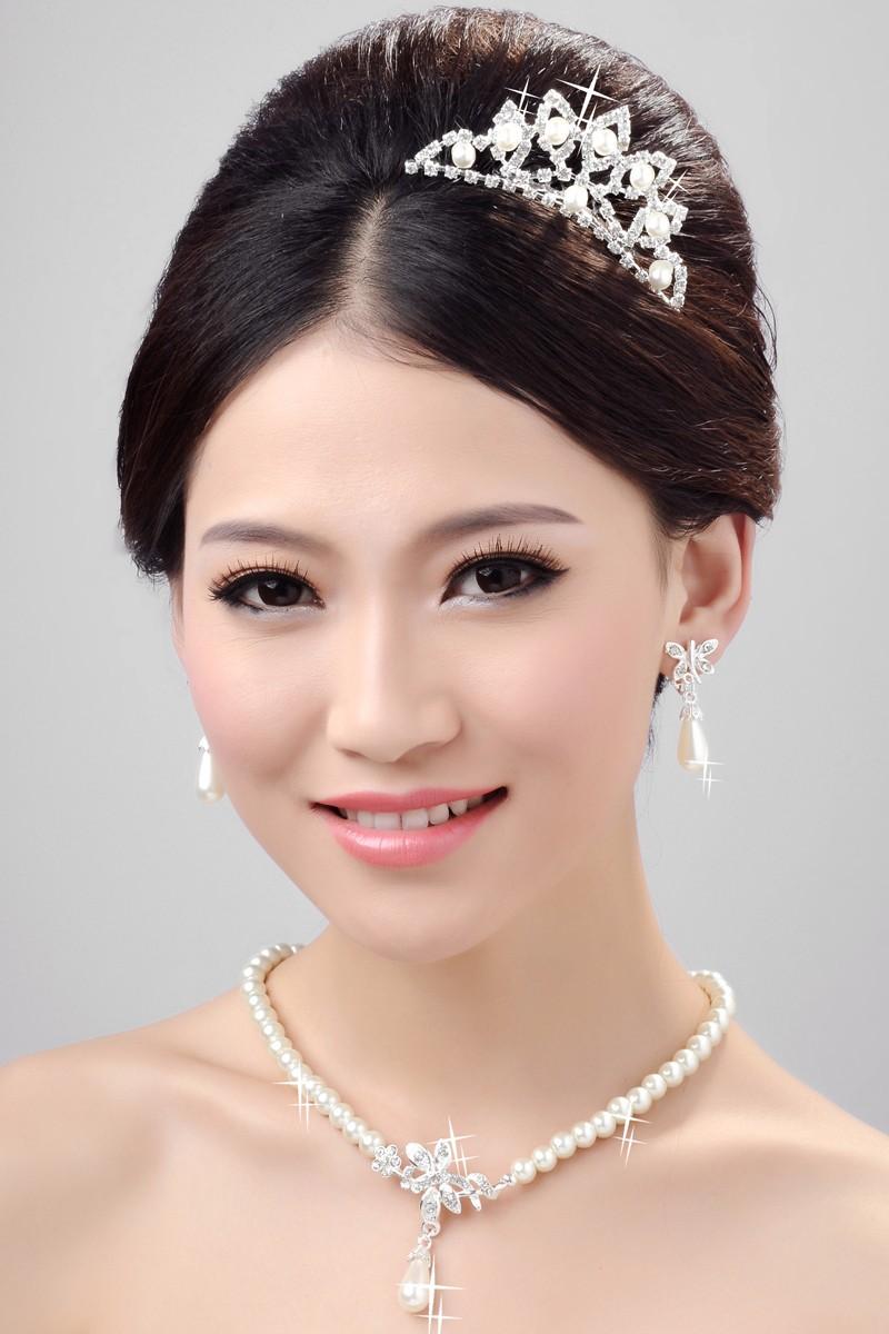 Agréable Perles Alliage Cristaux Clairs Coiffe de Mariage Colliers Boucles d'oreilles Set