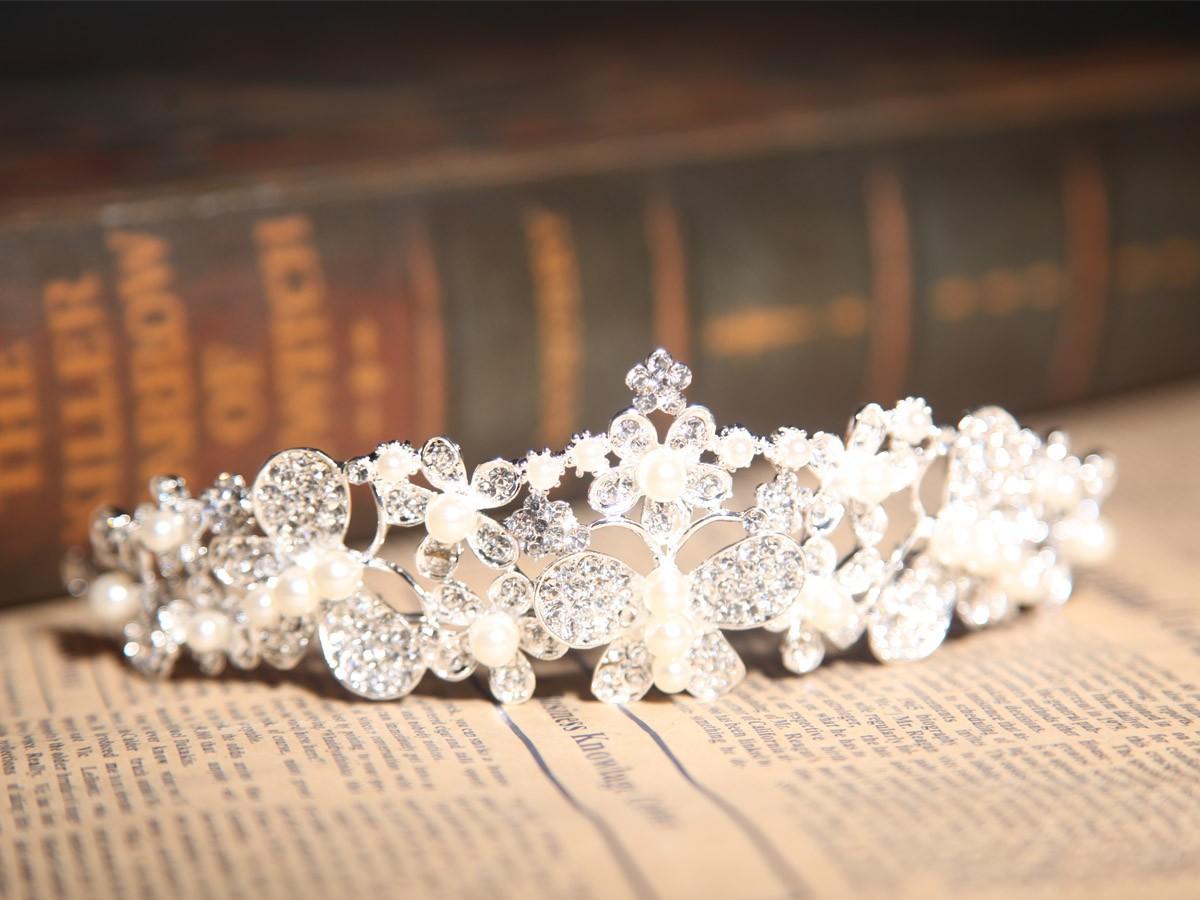 Superbe Alliage Cristaux Clairs Perles Coiffe de Mariage