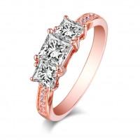 Coupe Princesse Saphir Blanc Or Rosé Argent Sterling Three-Stone Bagues de Fiançailles