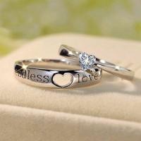 Endless Amour Coupe Coeur Gemme 925 Argent Sterling Couple Sets