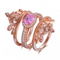 Couronne Coupe Ovale Saphir Rose Or Rosé 925 Argent Sterling Ensembles de Bague de Mariage