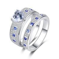 Classique Coupe Coeur Saphir Bleu Argent Sterling Ensembles de Bague de Mariage