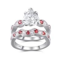 Coupe Coeur Blanc et Rubis Saphir Argent Sterling Ensemble de Bague de Mariage Femme