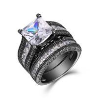 Coupe Princesse Saphir Blanc Noir 925 Argent Sterling Ensembles de Bague de Mariage