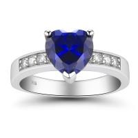 Coupe Coeur Saphir 925 Argent Sterling Bagues de Promesse pour Elle