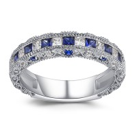 Coupe Princesse Saphir 925 Argent Sterling Alliances Femme