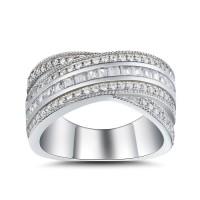 Coupe Princesse Saphir Blanc 925 Argent Sterling Alliances Femme