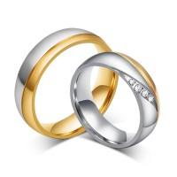 Mode Or et Argent Acier au Titane Gemme Bague de Promesse pour les Couples