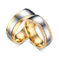 Or et Argent Gemme Acier au Titane Bague de Promesse pour les Couples