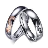 Argent Acier au Titane Coupe Ronde Gemme Bague de Promesse pour les Couples