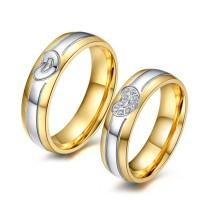 Coupe Ronde Saphir Blanc Acier au Titane Or & Argent Bagues de Promesse pour les Couples