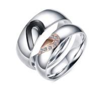Noir Or Rosé & Argent Acier au Titane Bagues de Promesse pour les Couples