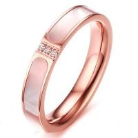 Titane Coupe Ronde Saphir Blanc Or Rosé Bagues de Promesse pour Elle