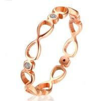 Titane Coupe Ronde Saphir Blanc Infinity Or Rosé Bagues de Promesse pour Elle