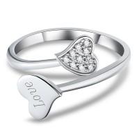 Coupe Coeur Gemme 925 Argent Sterling Bagues de Promesse pour Elle