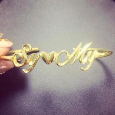 Or S925 Argent Personnalisé Name Bracelets Joncs