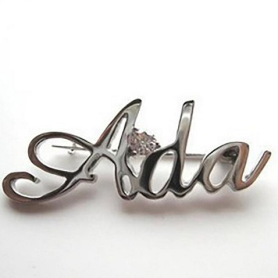 Personnalisé 925 Argent Sterling Name Brooch