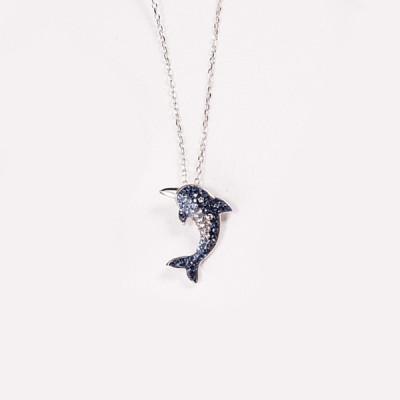 Saphir Bleu Dolphin S925 Argent Collier