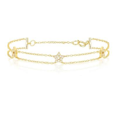 Étoile Pendant S925 Argent Or Bracelet