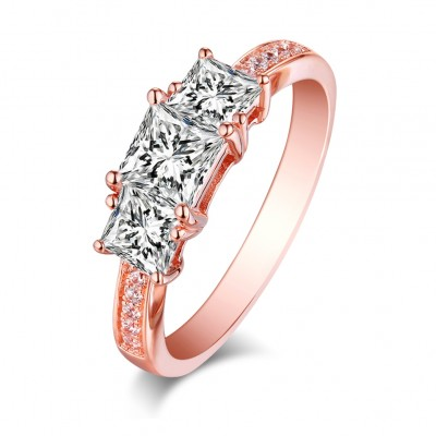 Coupe Princesse Saphir Blanc Or Rosé Argent Sterling Three-Stone Bagues de Fiançailles