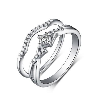 Coupe Princesse Saphir Blanc 925 Argent Sterling Ensembles de Bague de Mariage