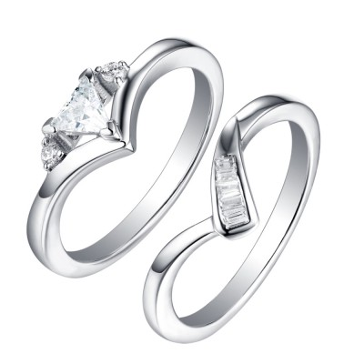 Coupe Trillion 925 Argent Sterling Saphir Blanc 3 Pierres Ensembles de Bague