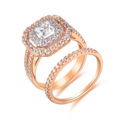 Or Rosé 925 Argent Sterling Coupe Princesse 1-1/2CT Gemme Ensembles de Bague de Mariage