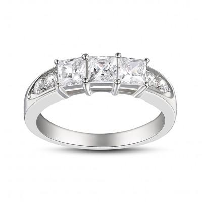 Coupe Princesse Saphir Blanc Argent Sterling Three-Stone Bagues de Fiançailles