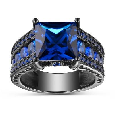 Saphir Bleu Coupe Princesse Noir 925 Argent Sterling Bagues de Fiançailles