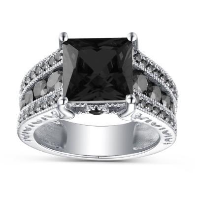Coupe Princesse Saphir Noir 925 Argent Sterling Bagues de Fiançailles