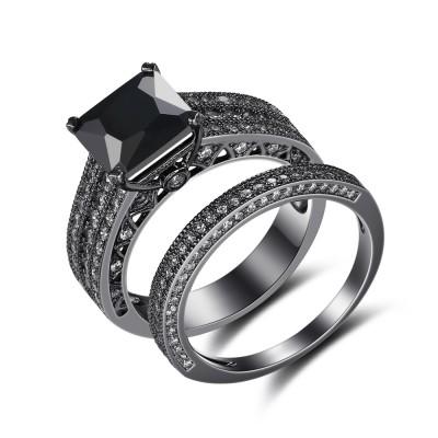 Noir 925 Argent Sterling Coupe Princesse Noir Ensembles de Bague de Mariage
