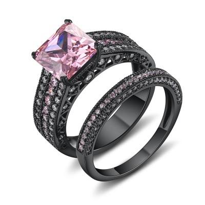Coupe Asscher Saphir Rose Noir 925 Argent Sterling Ensembles de Bague de Mariage