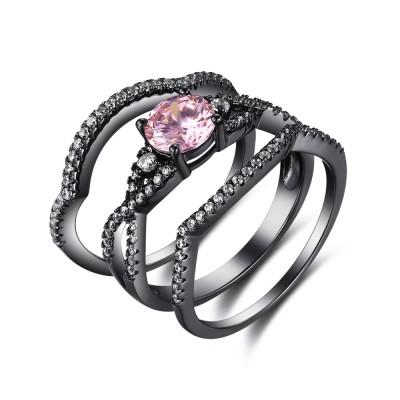 Coupe Ronde Saphir Rose Noir 925 Argent Sterling Ensembles de Bague de Mariage