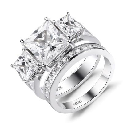 3 Pierres Coupe Princesse Saphir Blanc 925 Argent Sterling Ensembles de Bague de Mariage