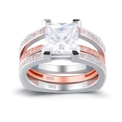Or Rosé Coupe Princesse Saphir Blanc 925 Argent Sterling Ensembles de Bague de Mariage