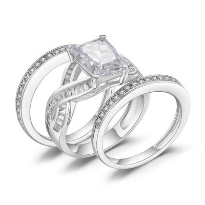 Coupe Émeraude Saphir Blanc 925 Argent Sterling Ensemble de Bague de Mariage Femme