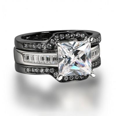 Coupe Princesse Saphir Blanc Noir 925 Argent Sterling 3 Pièces Ensembles de Bague de Mariage