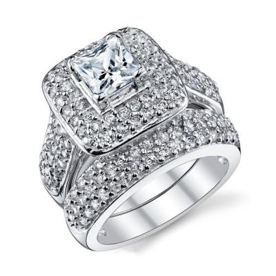 Coupe Princesse Saphir Blanc Argent Sterling Double Halo Ensembles de Bague de Mariage