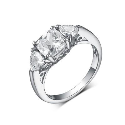 Coupe Princesse & Trillion Saphir Blanc 925 Argent Sterling 3 Pierres Bagues de Fiançailles