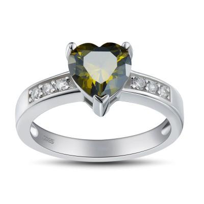 Coupe Coeur Émeraude 925 Argent Sterling Bagues de Promesse pour Elle