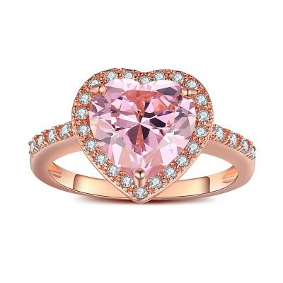 Coupe Coeur Saphir Rose Or Rosé 925 Argent Sterling Bague de Fiançailles