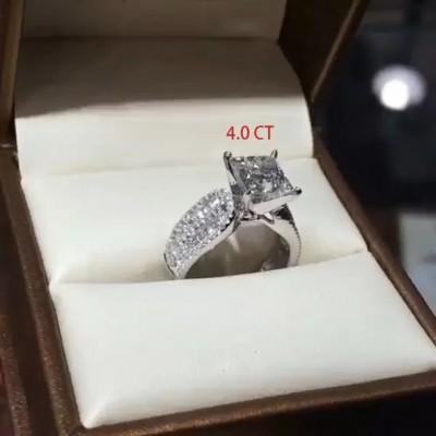Coupe Princesse Saphir Blanc 925 Argent Sterling Halo Bague de Fiançailles pour Femme