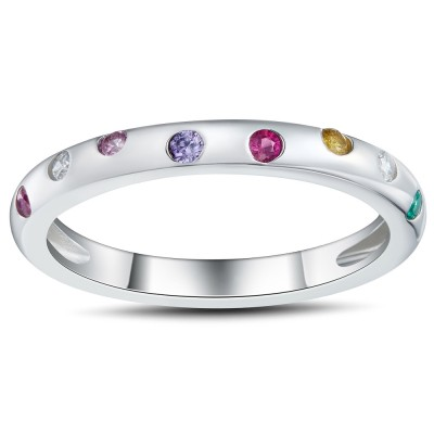 Multicolore Coupe Ronde 925 Argent Sterling Alliances Femme