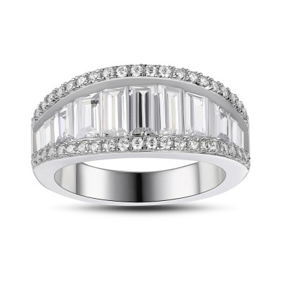 Saphir Blanc 925 Argent Sterling Alliances Femme