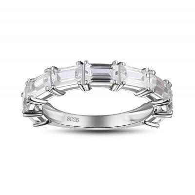 Coupe Émeraude Saphir Blanc 925 Argent Sterling Alliances Femme