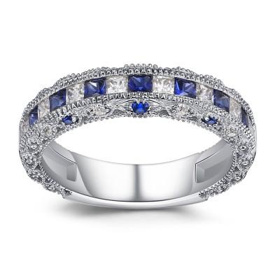 Coupe Princesse Saphir 925 Argent Sterling Alliances Femme