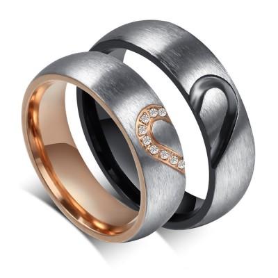 Élégant Coeur Désign Acier au Titane Gemme Bague de Promesse pour les Couples
