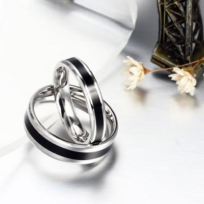 Élégant Noir et Argent Acier au Titane Bague de Promesse pour les Couples