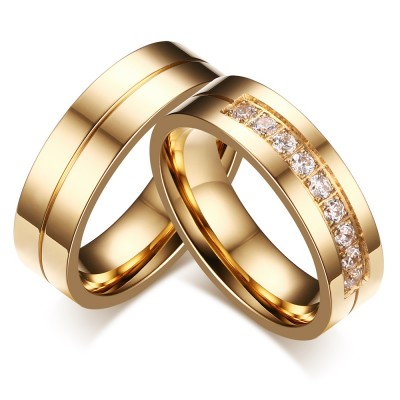 Or Coupe Ronde Gemme Acier au Titane Bague de Promesse pour les Couples