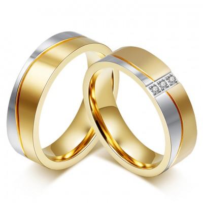 Coupe Princesse Gemme Or et Argent Acier au Titane Bague de Promesse pour les Couples